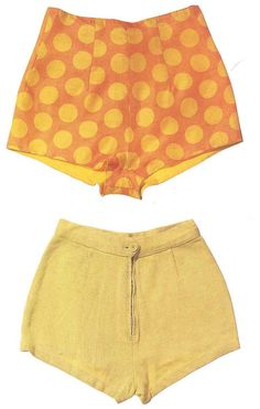 Pair of yellow polka dot cotton shorts and a pair of lime green shorts owned by Marilyn.