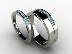 Wedding band set, titanium ring, blue Diamond, Titanium wedding band, men, diamond, wedding ring, Titanium, ring set, women, two tone