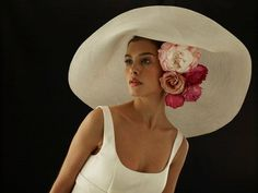 Amazing hat with fabric flowers underneath