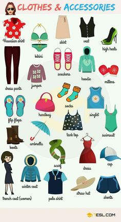 Learn Clothes & Accessories Vocabulary in English – ESL Buzz - Learn to speack english easy - Receive now your gift free for education here - Learning English For Kids, English Lessons For Kids, Kids English, English Language Learning, English Study, Teaching English, Kids Learning, English Vocabulary Words, Learn English Words
