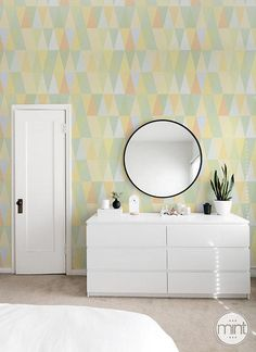 Pastel Triangle temporary wallpaper Pale wall covering Self
