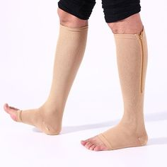 Reduce swelling and enhance blood circulation with the soft and comfortable ZipUp™ Anti-Fatigue Compression Socks! The revolutionary new ZipUp™ Anti-Fatigue Compression Socks relieve pain, swelling, and varicose veins! Anti Fatigue, Compression Sleeves, Compression Shorts, Leg Pain, Muscle Recovery, Varicose Veins, Stockings Lingerie, Designer Socks, Nude Color