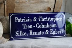 Enamel Name Plate 4.7 x 10.6 by enamelsign on Etsy