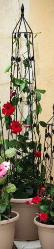 """Black Leaves Trellis - Large by Outdoor Decor. $72.49. Great for yourself or as a gift!. From the Trellis Collection.. Perfect for every garden!. 8"""" L x 8"""" W x 60"""" H. Made of metal.. Perfect for enthusiasts looking to spice things up, this trellis is a nice addition to almost any garden. Place this decorative trellis anywhere in your garden just for looks or plant a rose bush underneath and watch the rose vines climb through the intricate metal working! Purchase one today!"""