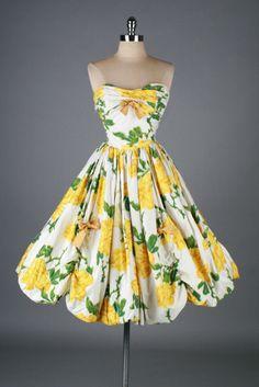 Vintage 1950s Roses Cocktail Dress