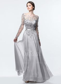 Evening Dresses - $260.71 - A-Line/Princess Scoop Neck Floor-Length Chiffon Evening Dress With Beading (0175090232)