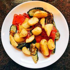 My vegetable dinner. #zucchini #roastedredpeppers #potato