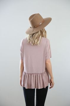THE READING ROOM PEPLUM IN DUSTY ROSE: