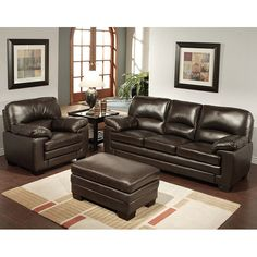 Decorating your living room is easy with this coordinated living room furniture set, which includes an armchair, sofa, and ottoman. Each piece is upholstered in a rich brown Italian leather, creating a comfortable and stylish way to furnish any room.