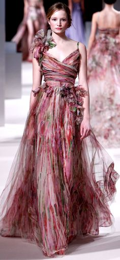 ELIE SAAB Haute Couture Spring 2011 | water color | flowy chiffon dress with painterly prints