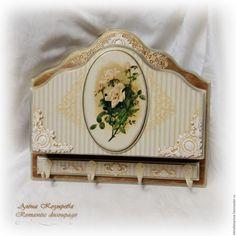 """Купить Ключница """"Нежные розы"""" - бежевый, ключница в прихожую, ключница в подарок, ключница винтаж"""