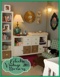 Eclectic Vintage Nursery by Susan from Wilhelmina's World! This room is so fun and free-spirited! I love everything about it. Imaginations will run wild in this room!