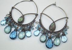 London Blue Topaz Large Hoop Earrings Oxidized Silver Coiled Wire Wrapped