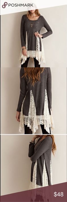 Waterfall Lace Charcoal Tunic Waterfall Lace Charcoal Tunic. Brand new from my boutique. Solid sweater tunic featuring lace detail. Semi-sheer with long sleeves. Knit, lightweight. So gorgeous! Size small. Boutique Tops Tunics