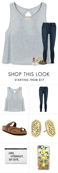 """""""Your dreams are as hungry as your demons, make sure your feeding the right ones"""" by lovelyelegantgirl ❤ liked on Polyvore featuring J Brand, Birkenstock, Kendra Scott, Casetify and Ginette NY"""