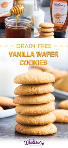 The secret ingredient for making the perfect grain-free and paleo treats? Wholesome Organic Honey of course! Check out the full recipe for Vanilla Wafer Cookies to enjoy grain-free snacking with the h Desserts Keto, Paleo Sweets, Gluten Free Sweets, Paleo Dessert, Dessert Recipes, Snack Recipes, Paleo Cookies, Gluten Free Cookies, Paleo Baking