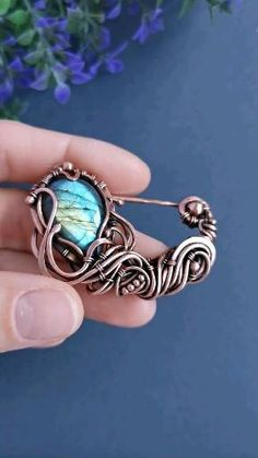 Wire Wrapped Turquoise Labradorite Flower Brooch Pin in Antiqued Copper, Mothers day gift, Ooak Wire Wrapped Floral Jewelry, Scarf Pin Shawl Labradorite Jewelry, Copper Jewelry, Turquoise Jewelry, Beaded Jewelry, Jewlery, Witch Jewelry, Fantasy Jewelry, Wire Wrapped Pendant, Wire Wrapped Jewelry