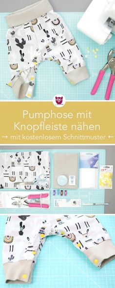 [Werbung] Sew bloomers with a button placket in the crotch - perfect for changing - with a free sewing pattern. With the Prym Color Snaps Mini you can easily attach a button placket to bloomers and ro Sewing Patterns Free, Free Sewing, Knitting Patterns, Kids Patterns, Free Knitting, Diy Trousse, Baby Letters, How To Start Knitting, Baby Vest
