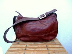 Chocolate Hobo Purse Brown Leather Bag 90s by BlastFromThePastBags