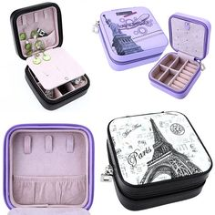 Jewelry Ring Earrings Display Organizer Holder Case Travel Portable Zip Box 80,-