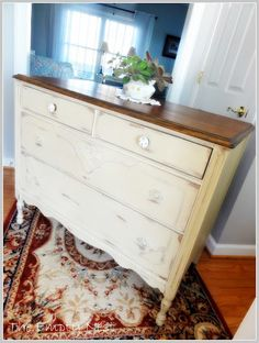Dresser with stained top