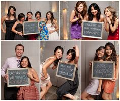 Photobooth guest book with chalkboard messages