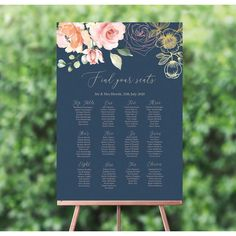 Tie every aspect of your theme together from the moment your guests arrive with our Navy, Blush & Rose Gold Floral wedding welcome sign. Wedding Table Seating, Wedding Tables, Rose Gold Table, Blush Roses, Blush Pink, Wedding Timeline, Wedding Signs, Wedding Ideas, Wedding Decorations