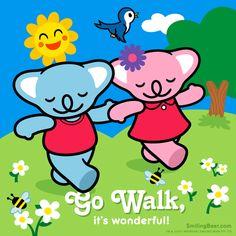 Go Walk, It's Wonderful! Animated gif version here: http://smilingbear.com/blog/go-walk-its-wonderful  #walk #walking #hiking #smilingbear #smilemore #koala #koalabear #bear #smile #smiling #happy #cute #kawaii #australia #aussie #sydney #beach #manga #art #design #illustration #cartoon #characterdesign #fun #GIF #otaku #plush #iphonesia #kawaiigurls #kawaiioftheday