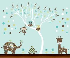 Modern Boys Pattern Nursery White Tree with by WhimsyWallArt, $129.00