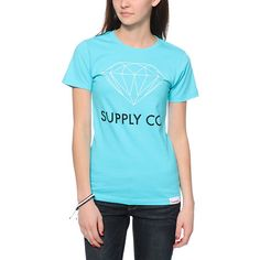 Get your shine on in brilliant style with the Supply Co Light Blue tee shirt from Diamond Supply. This crew neck tee shirt is made with a pure cotton construction that is lightweight and soft to the touch for a comfortable wear, while the slim fit and scr