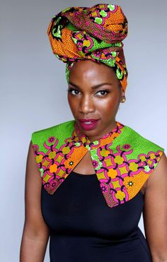 I mean, the colors though! I'd imagine if us Royals took a trip to Wakanda this gorgeous head wrap and collar would definitely be packed in our bags and have us standing out in the crowd! We are such vibrant things right! African Attire, African Fashion Dresses, African Wear, African Women, African Dress, Fashion Outfits, African Outfits, Fashion Ideas, African Style