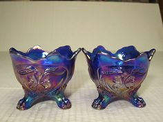 Electronics, Cars, Fashion, Collectibles, Coupons and Glass Votive Candle Holders, Candleholders, Votive Candles, Blue Carnival Glass, Imperial Glass, Electric Blue, Iridescent, Depression, Ebay