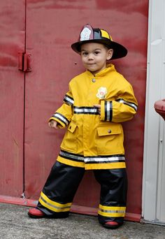 DIY Firefighter Costume: rain jacket, black electrical tape, and Crome duct tape