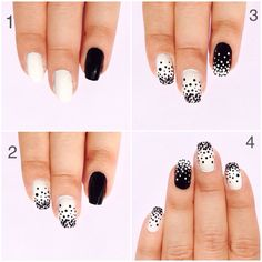 Nails. Easy steps to follow. Black and white dotted nails.