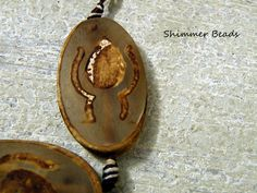 Tibetan Agate Etched Flame Oval Pendant -Bohemian-Mystical Stone-Aged Beads 40mm #Unbranded #Focal