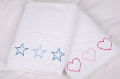 White Bath towels for kids of all ages - embroidered hearts (or stars) Love Heart, Bath Towels, Baby Gifts, Boy Or Girl, Embroidery, Handmade, Boys, Girls, Hearts