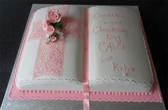 book cake | Open book christening cake (available in blue also)