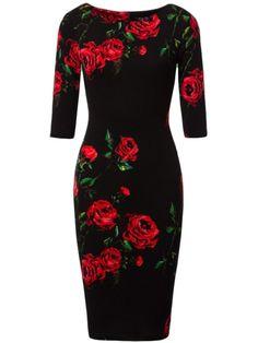 Vintage Floral Printed Round Neck Bodycon Dress 2580 Best Fashion images in 2019 Cheap Dresses Online, Dress Online, Dress Silhouette, Mode Hijab, Ladies Dress Design, Women's Fashion Dresses, Beautiful Dresses, Bodycon Dress, Blouse Dress