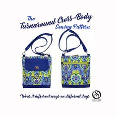 eedbbb8bbb3 The Turnaround Cross-Body Bag sewing pattern . PDF Bag sewing pattern.  Hipster pattern. Purse sewing Patterns. Sew and sell