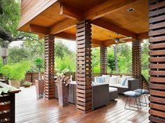 wood slats covering sections of the deck and rails. They allow breezes to pass through while still providing the structures with a substantial presence.