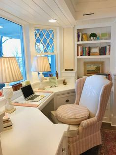 Home Office. Classic and timeless home office. My mother's writing chair recovered in Schumacher fabric. It sits a little low, so I had a tuft made so I could sit comfortably. And the monogram chair back is so personal. Bureau Design, Workspace Design, Office Interior Design, Office Interiors, Office Designs, Interior Modern, Kitchen Interior, Home Office Space, Home Office Decor