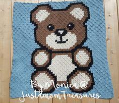 Modern Crochet Blanket, C2c Crochet Blanket, Graph Crochet, Crochet Teddy Bear Pattern, Bear Blanket, Afghan Crochet Patterns, Crochet Blankets, Baby Blankets, Crochet Baby