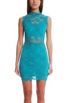 Nightcap Dixie Lace Cutout Dress | Blue&Cream