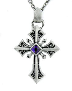 Dysfunctional Doll Silver Gothic Cross Necklace With Purple Stone: Amazon.co.uk: Jewellery
