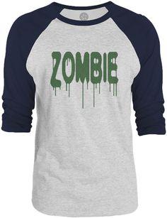 Big Texas Zombie (Green) 3/4-Sleeve Raglan Baseball T-Shirt
