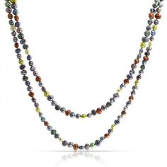 Bling Jewelry Freshwater Cultured Potato Pearl Multicolor Long Necklace 54in