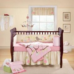 Sophisticated yet soft, the Love Bird baby bedding collection will enchant all little girls. Embroidered birds, leaves and flowers embellish the lovely pink and yellow tones of this delightful crib set,
