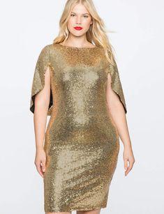 77f8aefcf6a ELOQUII Sequin Cape Dress Plus Size Party Dresses