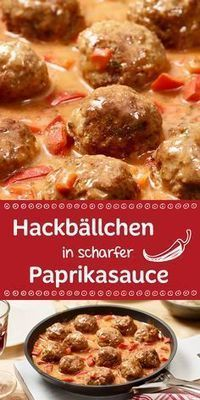 Hackbällchen in scharfer Paprikasauce These spicy little meatballs are on the table in just 30 minutes along with the tasty paprika sauce. Food N, Good Food, Food And Drink, Yummy Food, Paprika Sauce, Easy Dinner Recipes, Snack Recipes, Cooking Recipes, Low Carb Recipes
