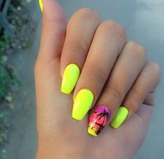 Try some of these designs and give your nails a quick makeover, gallery of unique nail art designs for any season. The best images and creative ideas for your nails. Neon Nails, Yellow Nails, My Nails, Nail Art Designs, Acrylic Nail Designs, Nails Design, Best Acrylic Nails, Summer Acrylic Nails, Spring Nails